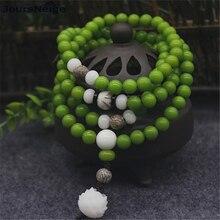 Green Bodhi Seed Bracelets Carved Lotus Flower Pendant Prayer Mala Tibetan Buddhism Necklace Buddha Lucky Women Men Jewelry