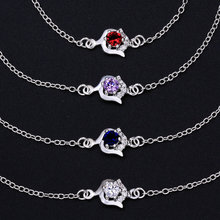 Summer Style Fashion 925 Silver Ankle Bracelet Foot Jewelry 4 Colors Round Crystal Rose Charms Anklets Body Leg Chain For Women