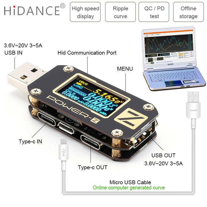 POWER Z USB tester QC3.0/PD Digital voltmeter amperimetro Digital voltage current amp volt Type C meter power bank detector