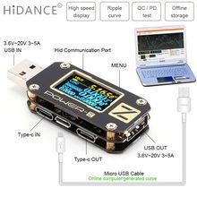 POWER Z USB tester QC3.0/PD woltomierz cyfrowy amperymetro cyfrowy napięcie prądu amp volt type c miernik detektor banku mocy