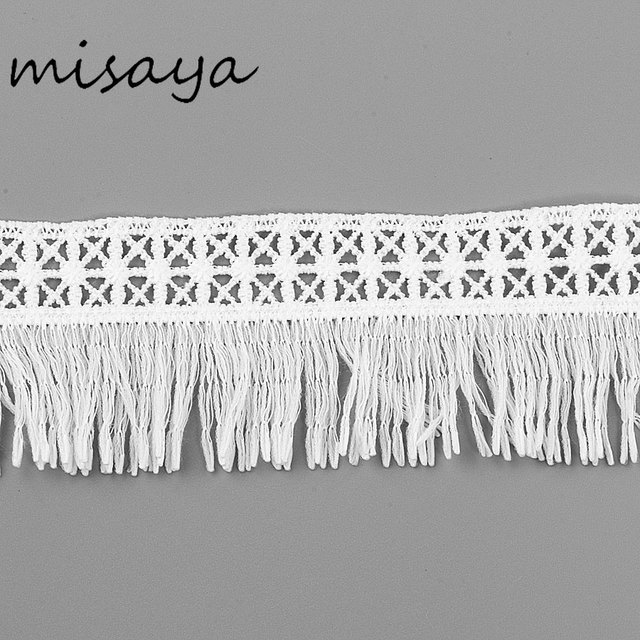 Misaya 2Yards 100% Silk Polyester Embroidery Lace Trim Tassels Fabric DIY Manual Sewing Supplies Lace Curtains&Table Trim Crafts