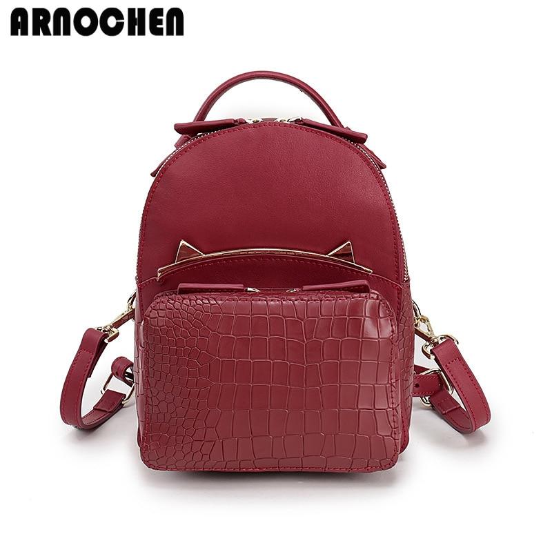 2018 Backpack Female Realer Leather Backpacks For Adolescent Girls Cat School Bags Travel Backpack Women mochila