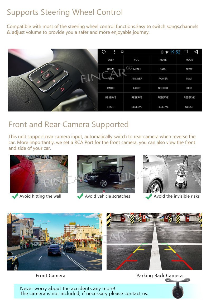 Android Car Radio Stereo Automotive 7.1 Stereo touch screen Auto Radio Support Wifi 4G/3G GPS Navigation Bluetooth+Reverse Came