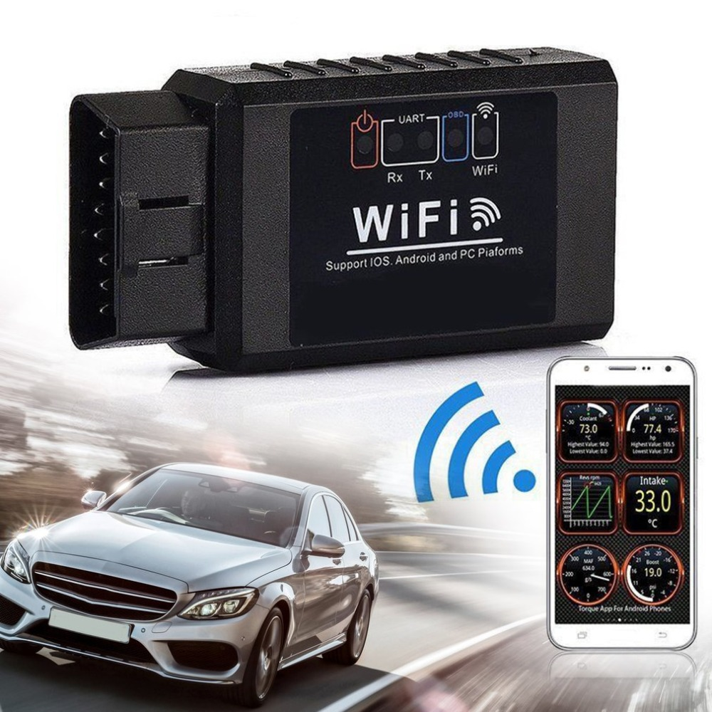 ELM327 WIFI OBD2 OBDII Interface Auto Car Diagnostic Scanner Scan Tool for iOS for Android PC Devices Wireless Car Code ReaderELM327 WIFI OBD2 OBDII Interface Auto Car Diagnostic Scanner Scan Tool for iOS for Android PC Devices Wireless Car Code Reader