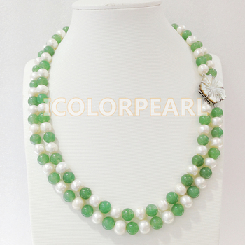 WEICOLOR Two Strand 45-48CM 8MM Green Stone And Nearround White Natural Freshwater Pearl Necklace.