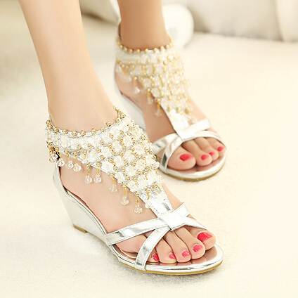 e3bc9911d04e Woman Gladiator Summer Sandals Wedges Beach Sandals Ladies Slippers Women s  Shoes Rhinestone Beaded Bohemian Shoes on Aliexpress.com