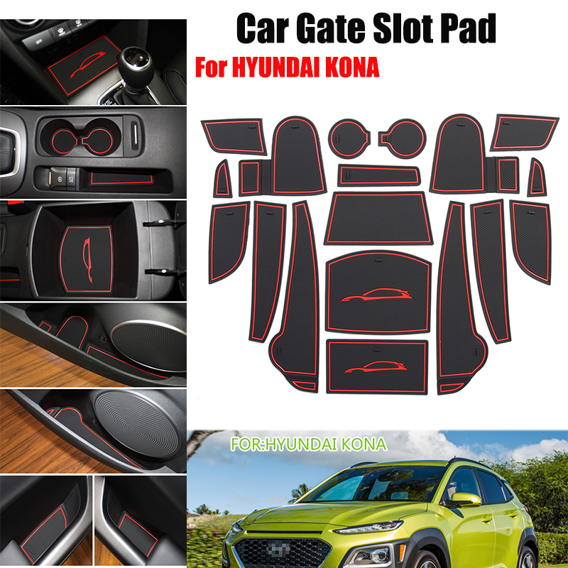 Hot Selling Car Door Groove Mat Gate Slot Pad Latex Anti Non Slip Car-styling 18pcs/set For HYUNDAI KONA Auto Accessories