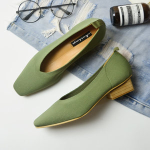 Image 2 - New Ladies sapato Pumps feminino breathable knitted V square toe moccasins loafers stretch shoes women med heels