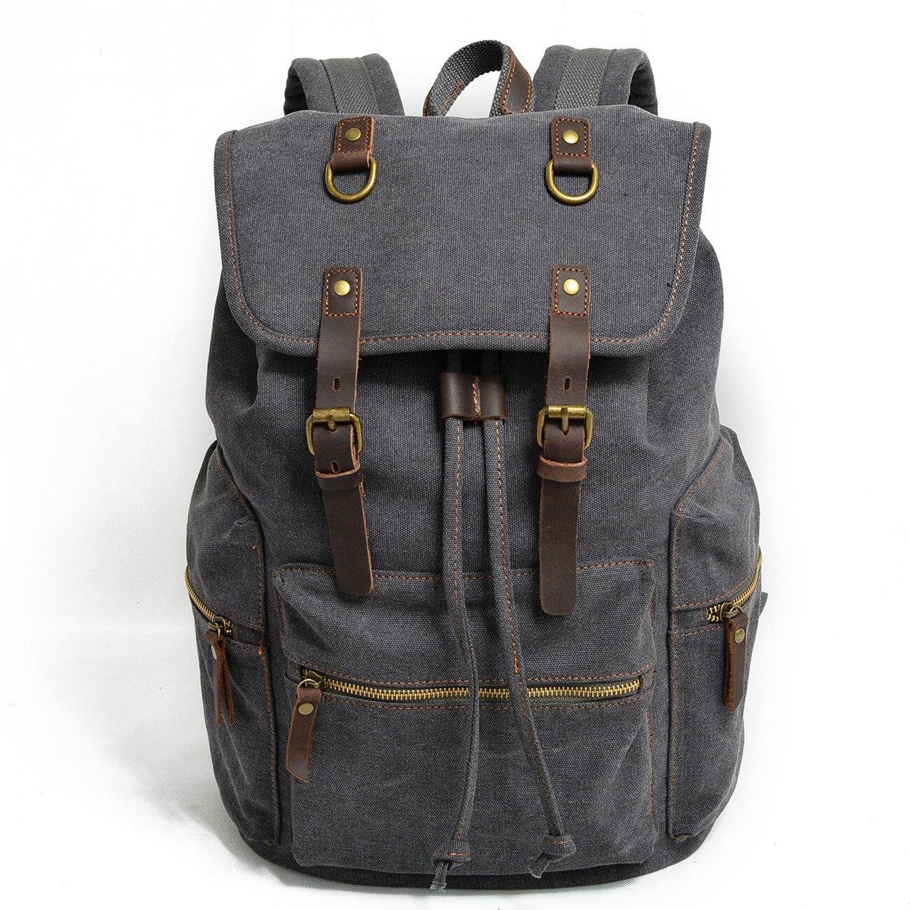 Haute qualité toile Vintage hommes sac à dos sac à main étanche voyage randonnée sac d'école grande capacité sac à dos pour ordinateur portable grand Bookbag