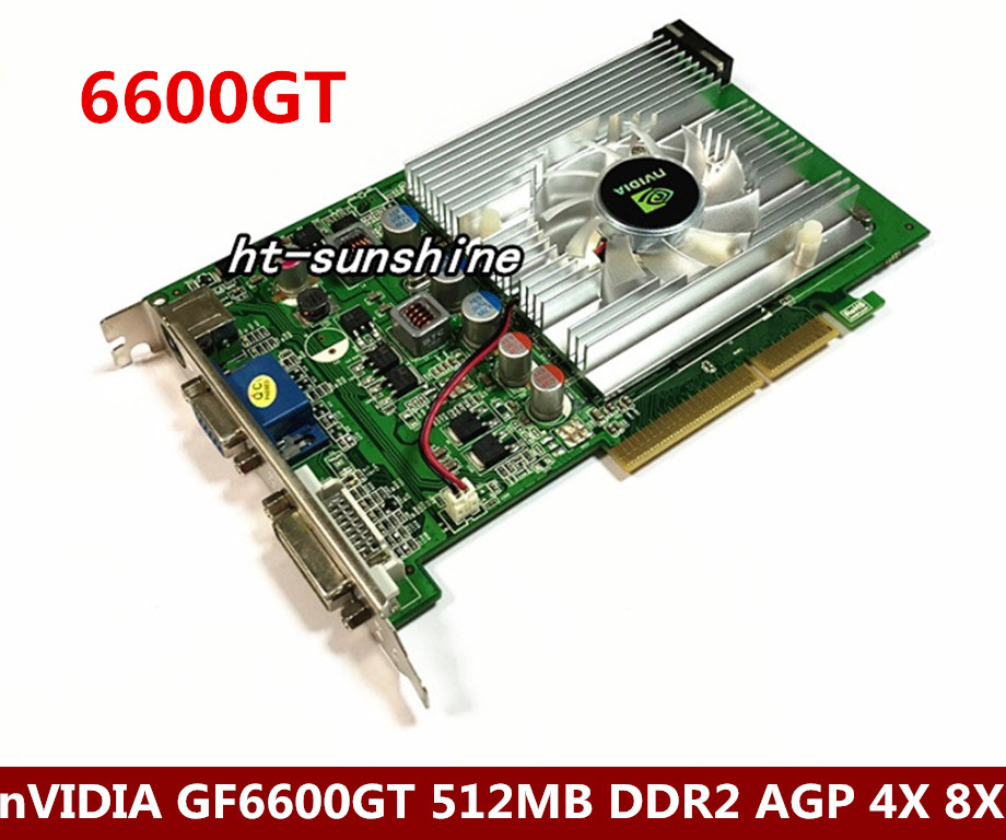 nVIDIA GeForce 6600GT 512MB DDR2 AGP 4X 8X VGA DVI Video Card new direct from factory free shipping new geforce fx5500 256mb ddr agp 4x 8x vga dvi video card