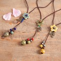 Retro National Style Sweater Necklace Female Name Long Paragraph Handmade Wild Necklace multicolor Flower Pendant Chain Ornament