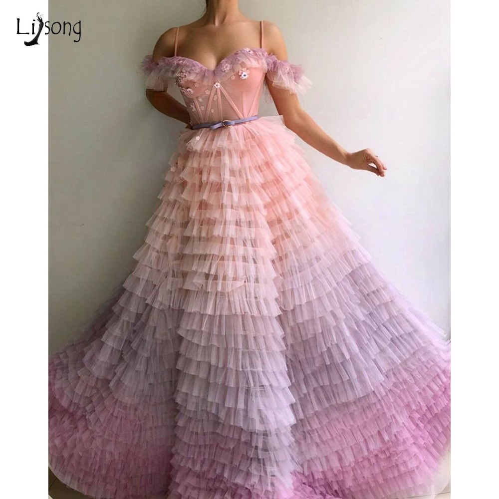 Pretty Mix Color Tutu   Prom     Dresses   2018-2019 Fashion 3D Flower Long A-line Formal Party   Dress     Prom   Gowns Vestido Formatura