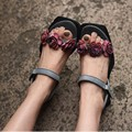 2016 new arrival genuine leather handmade  women sandals vintage flower flat women shoes personality casual shoes 9170-10