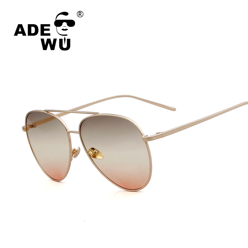 ADE WU Brand Designer Women Sunglasses Aviator Golden Sunglasses With Gradient Two Color ...