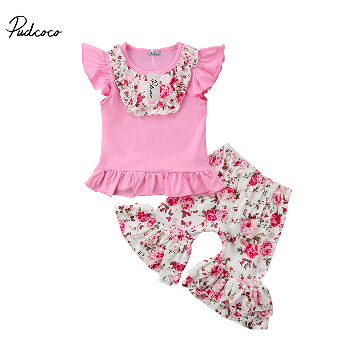 Фото Floral Toddler Kid Baby Girl Clothes Sets T-shirt Top Short Sleeve Ruffle Pants Cotton Cute 2pcs Clothing Set Girls 2-7T