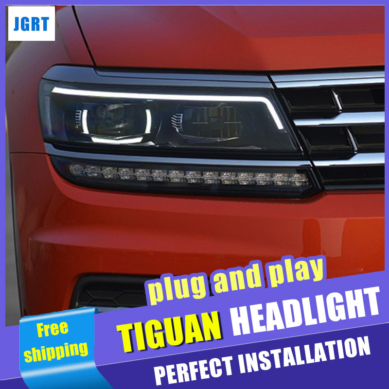 Car Styling Headlight assembly 2017 for VW Tiguan LED Lens Double Beam H7 hid kit with 2pcs.