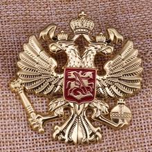 Российский национальный значок двуглавый двойной Орел Золотой