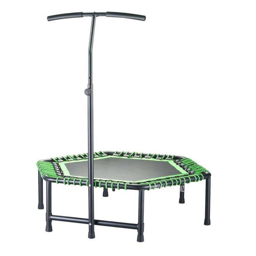 Trampoline pratique de forme hexagonale de 48 pouces pour les femmes Trampoline adulte protection de sécurité saut Sports en toute sécurité avec main courante en forme de T