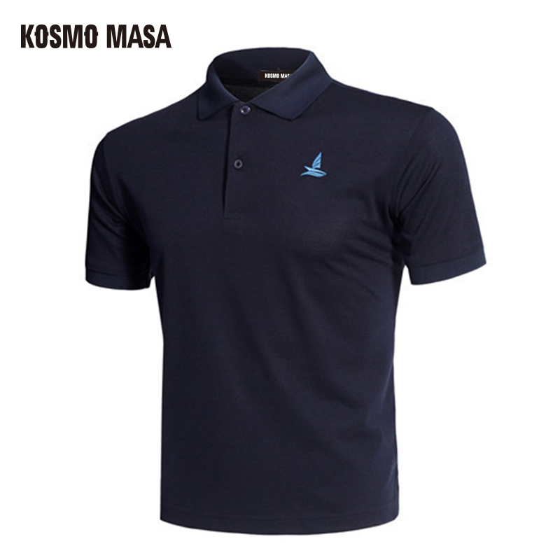 KOSMO MASA Breathable Black Polo Shirt Mens Short Sleeve Summer Casual Solid Male Polo Shirts Dry Slim Fit Polos For Men MP0001