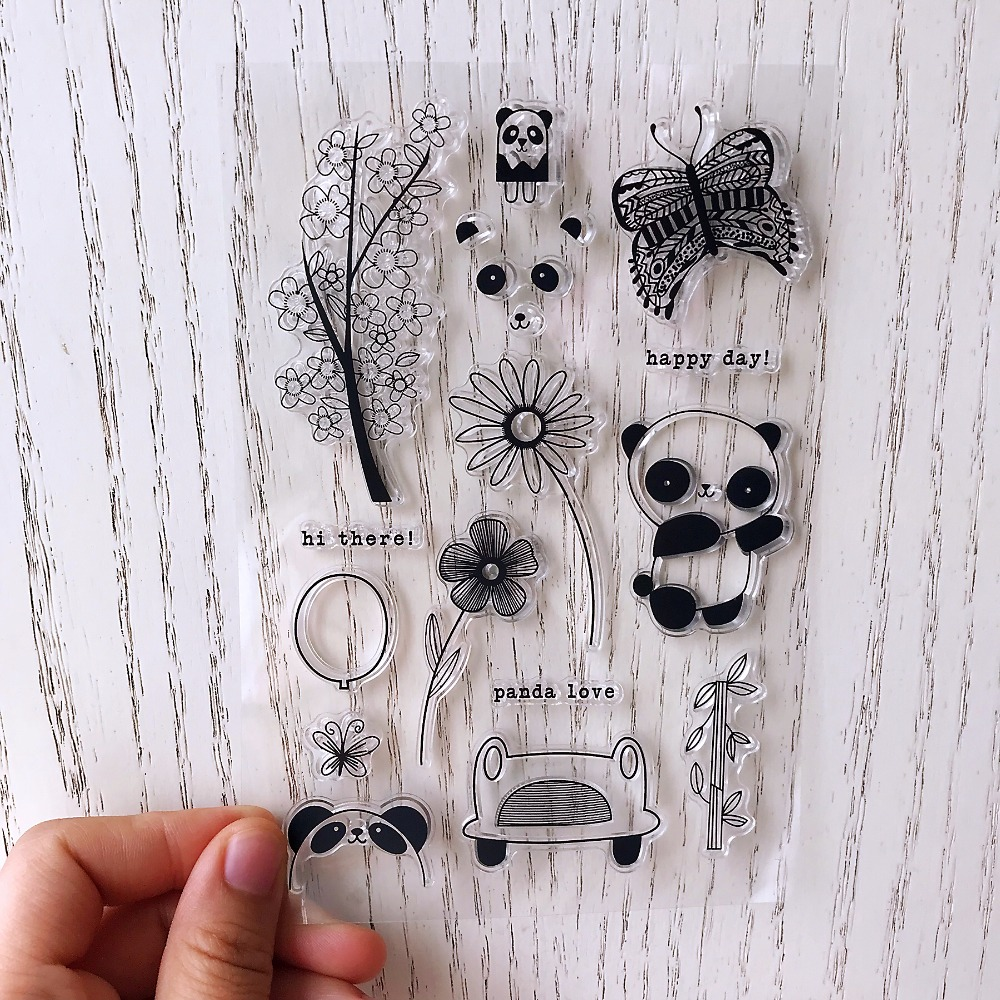 panda/butterfly/Transparent Clear Silicone Stamps for DIY Scrapbooking / Card Making / Kids Christmas Fun Decoration Supplies kscraft butterfly and insects transparent clear silicone stamps for diy scrapbooking card making kids fun decoration supplies