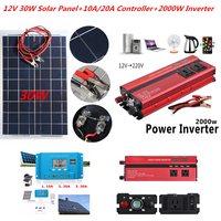 12V 30W Solar Panels with 2000W Car Inverter 12V 24V to 220V 110V and 10A 20A 30A PWM Solar Controller Solar System Kit