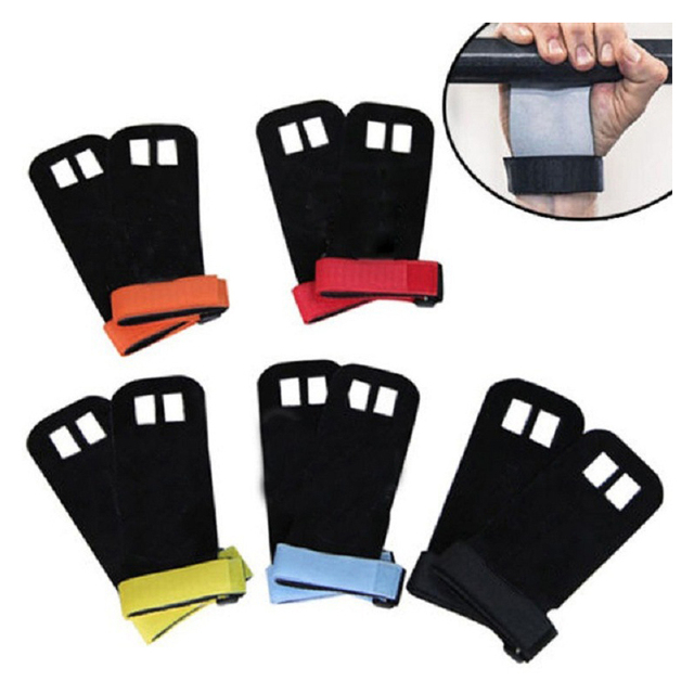 a54dafcbcbb0 1 Pair S M L Hand Grip Synthetic Leather Crossfit Gymnastics Guard Palm  Protectors Glove Pull Up Bar Weight Lifting Gloves