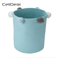 Toy Hamper Pompom Laundry Washing Clothes Storage Basket Bin Foldable Large Laundry Bag Laundry Bin Laundry Baskets