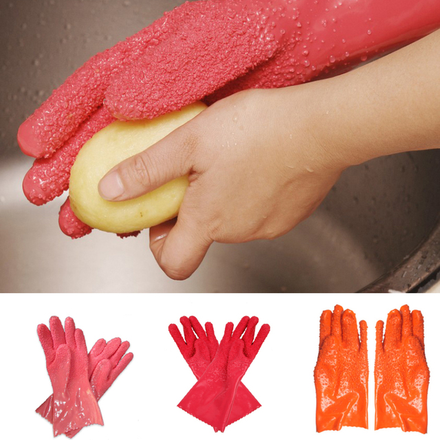 2Pcs/ Pair Creative Peeled Potato Cleaning Gloves Kitchen Vegetable Rub Fruits Skin Scraping Fish Scale Non-slip Household Glove