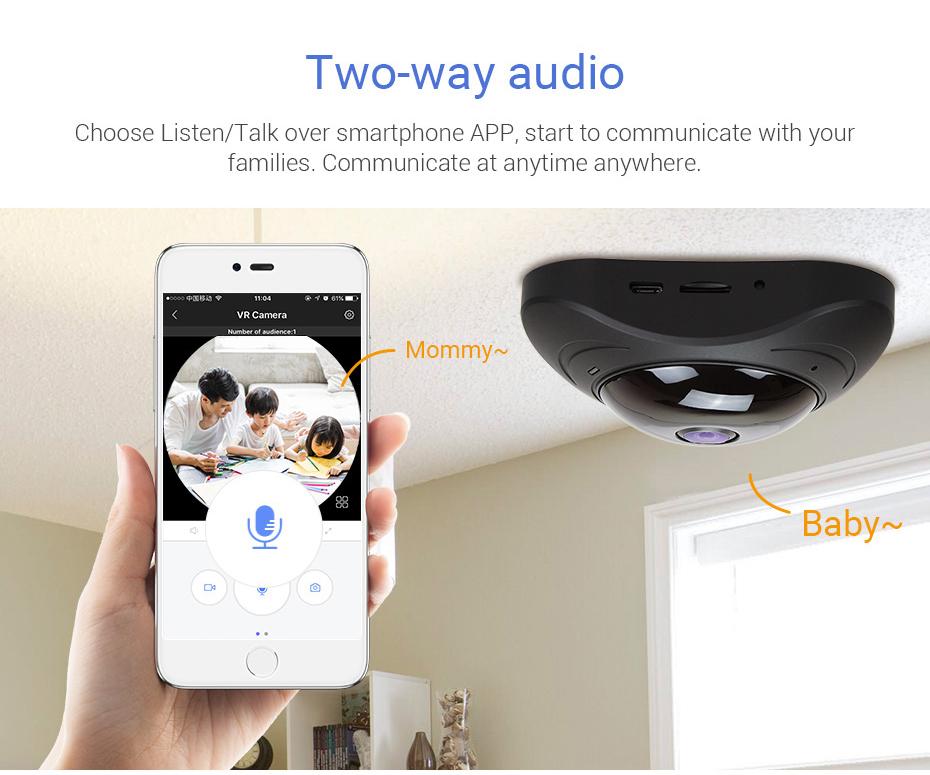 H.VIEW 360 CCTV Camera 720P IP Camera Wifi Cameras 960P Camara IP 1200TVL Fisheye Video Surveillance Cameras (11)