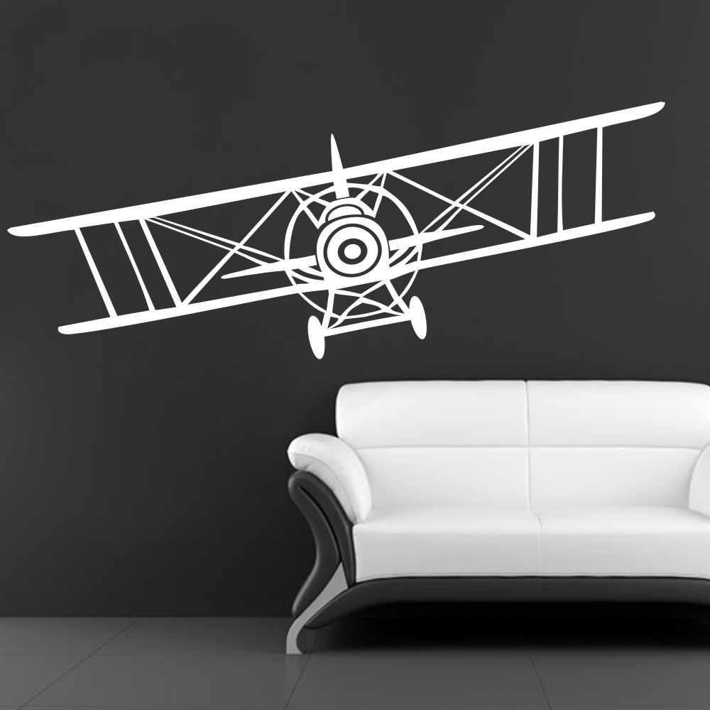 Huge bi plane vinyl wall decal sticker vintage airplane bi plane huge bi plane vinyl wall decal sticker vintage airplane bi plane aeronautical pilot wall art decal 18h x 56w in hair clips pins from beauty health on amipublicfo Image collections