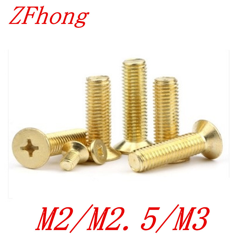 100pcs brass flat head screw M2 M2.5 M3 Brass cross recessed countersunk head machine screws 20pcs m3 6 m3 x 6mm aluminum anodized hex socket button head screw