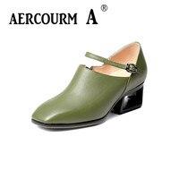Aercourm A 2017 Autumn New Women Genuine Leather Shoes Women High Heels Ladies Pumps Plus Size
