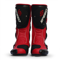 RED Women Motorcycle Motor Sports Protective Boot Motocross Dirt biker Cross country Water Proof Leather Boots Shoe