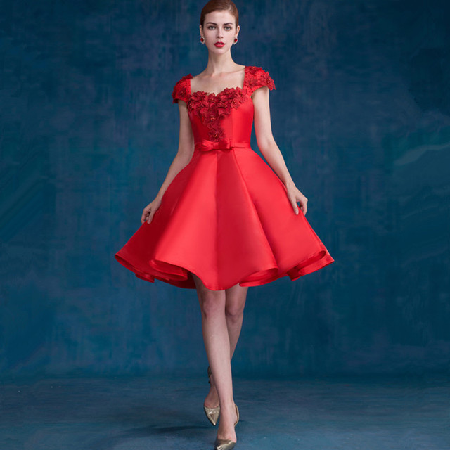 2017 New Arrival Short Prom Dresses With Hand Made Flower Beading ...