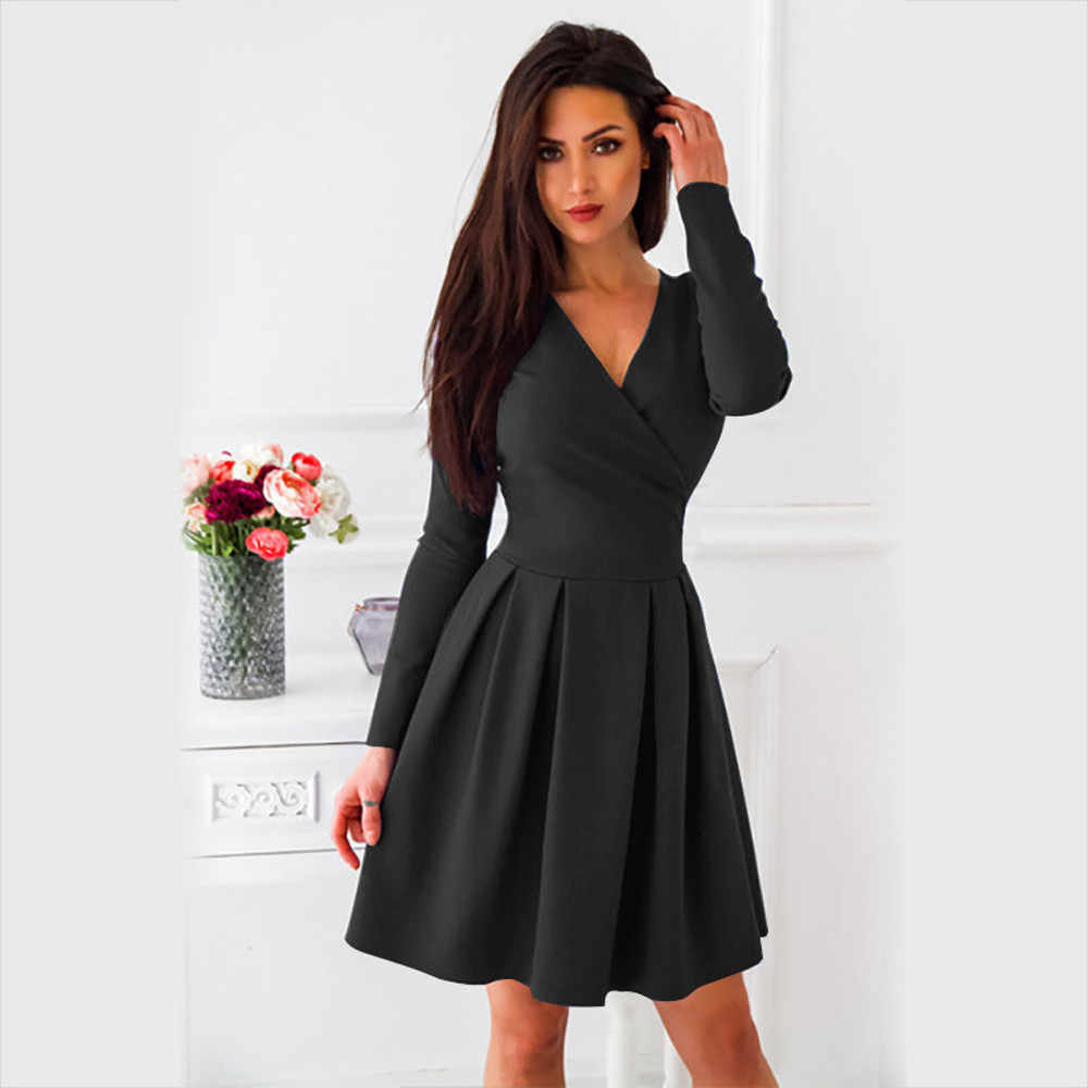 d9305fbad58 Feitong Women Ladies Black Dress Autumn Sexy Deep-V Solid Long Sleeve A-line