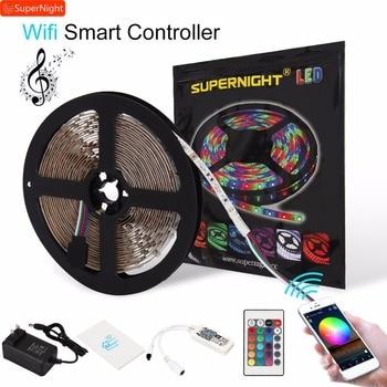 SMD 3528 RGB LED Strip Lights Kit 5M 60LEDs/m DC 12V Flexible Lamp Band with Smart Wifi APP Music Timer IR Remote Controller