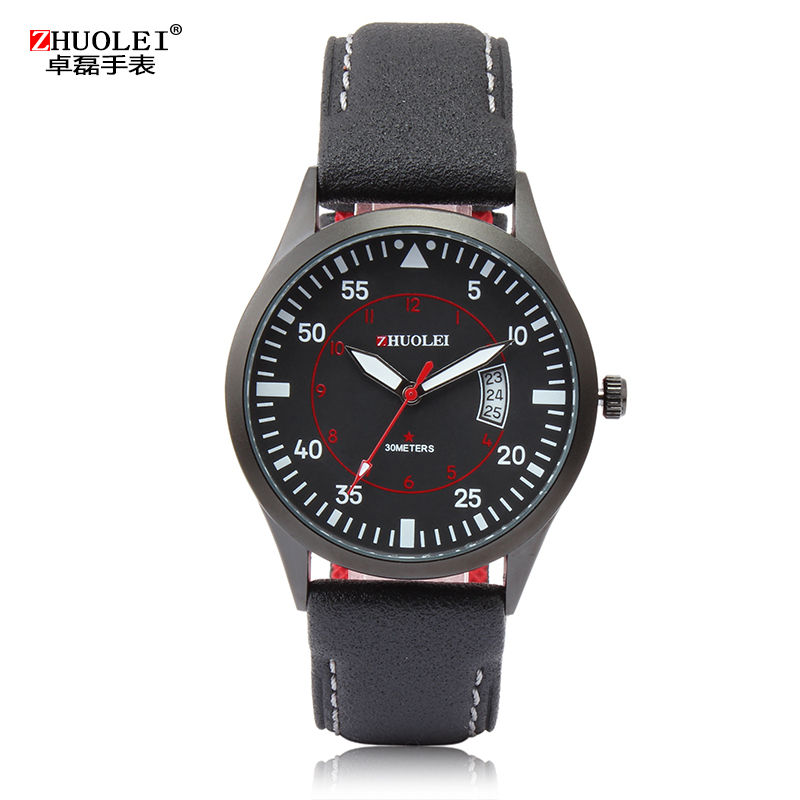 2014 New Zhuolei Men Quartz Watches Sports and Militar Watch Genuine Leather Watch Band Strap Watch Casual Wristwatch