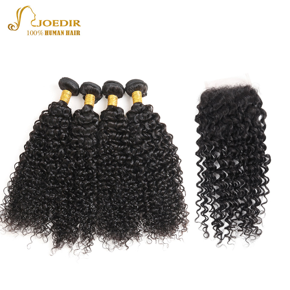 Joedir Indian Kinky Curly Hair With Closure 4 Bundles & 4*4 Lace Closure Remy Hair Extensions Human Hair Bundles With Closure