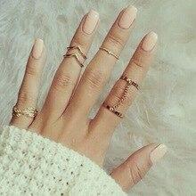 G056 6 шт./лот, уникальный регулируемый комплект панк-колец, Стильный золотой цвет, v-образное кольцо в форме листа для женщин, кольца на фаланг пальца, набор колец