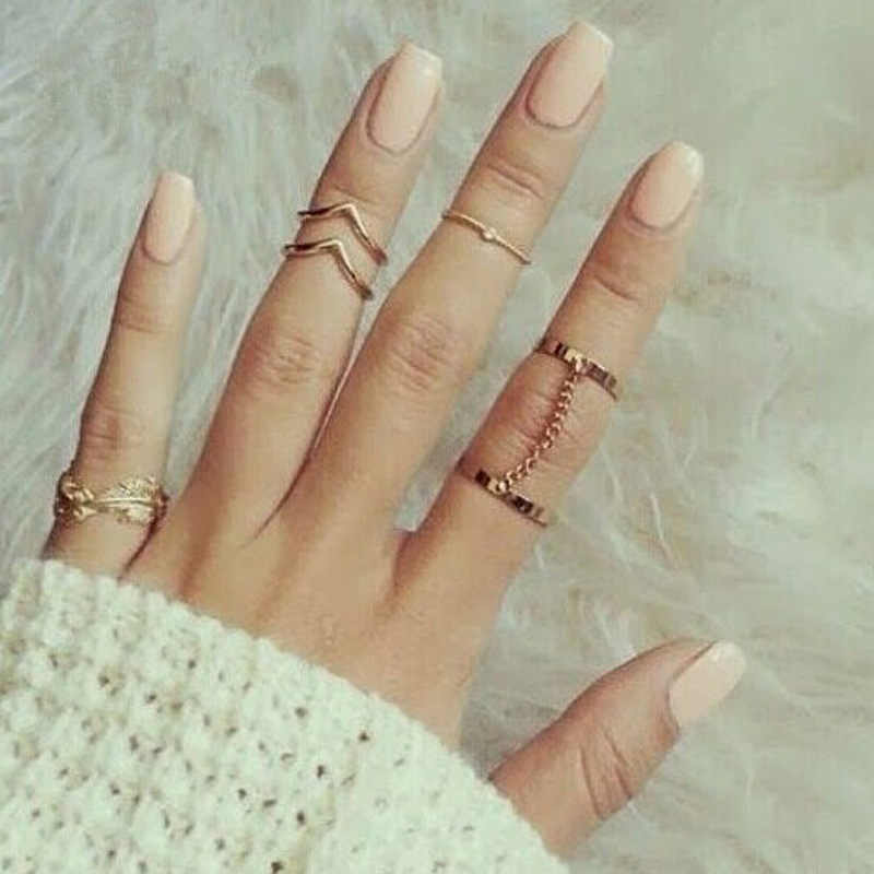 G056 6pcs/lot Unique Adjustable Ring Set Punk Style Gold Color V Leaf Knuckle Rings For Women Midi Finger Knuckle Rings Ring Set