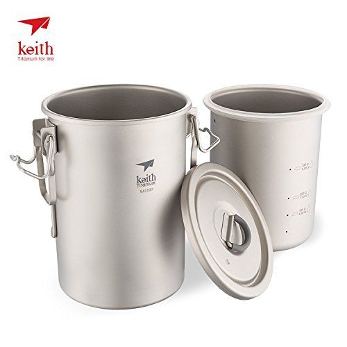 Keith Ti6300 Multipurpose Titanium Pot Cookware Light weight Camping Cooker Rice Tools