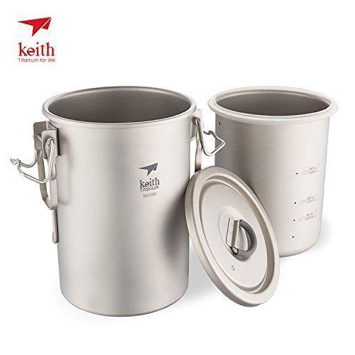 Keith Ti6300 Multipurpose Titanium Pot Cookware Light-weight Camping Cooker Rice Tools