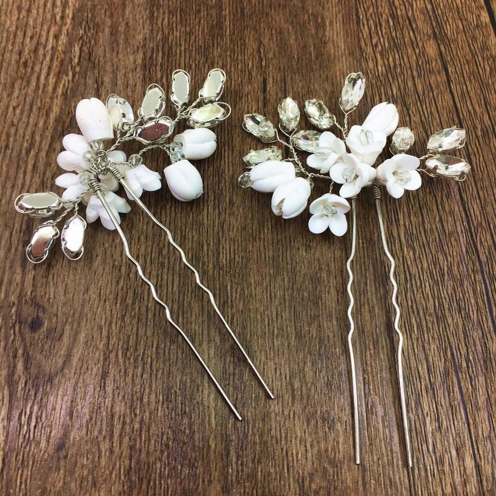 Jewelry Sets & More Sunny 3pc Handmade Clay Bud Crystal Hair Pins Bridal Hair Pin Jewelry Wedding Hair Accessories Hairpins Pince Bijoux Cheveux Wigo1295 For Fast Shipping Jewelry & Accessories