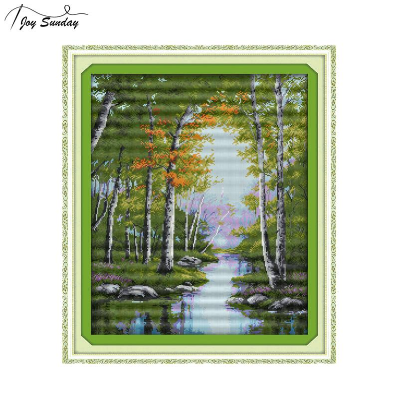 Joy Sunday The Stream Autumn Landscape Painting Cross Stitch Kits 14ct 11ct DMC Embroidery Kit Printed on Canvas DIY Needlework