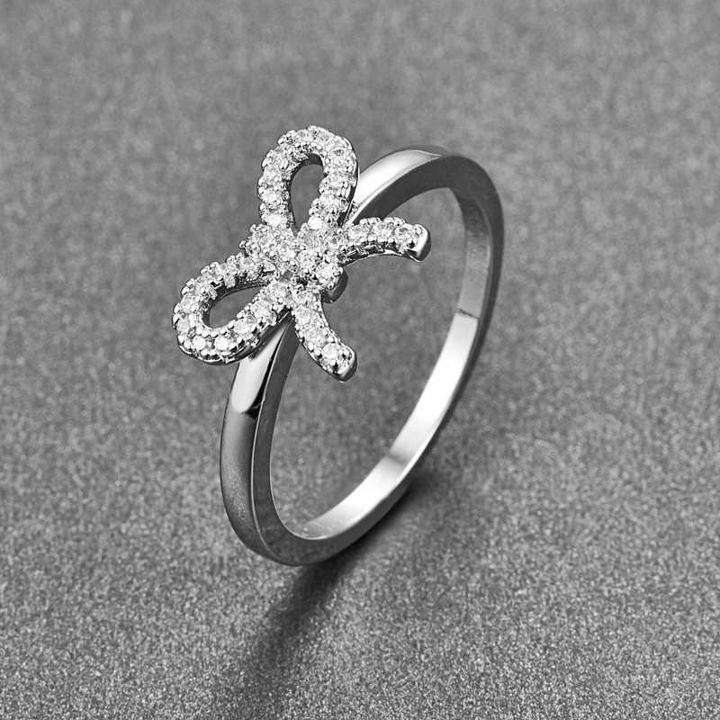 JQUEEN 1 คู่ Cubic Zirconia CZ งานแต่งงานแหวนโรแมนติก Bowknot แหวนแฟชั่นผู้หญิงเครื่องประดับคริสต์มาสของขวัญ BT007R