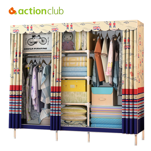 Actionclub Simple Modern Wardrobe Clothing Storage Cloth Wardrobe Folding  Fabric Closet DIY Storage Cabinet Dustproof Furniture