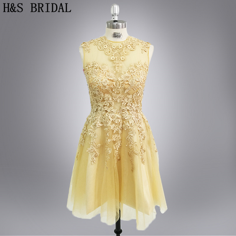 Real Model Short evening party dress gold lace appliques short mini see through cocktail dress