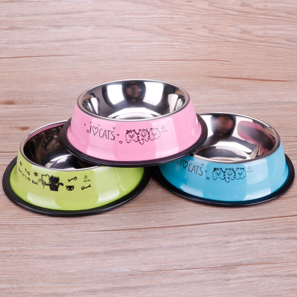 Lovely Pet 3 Colors Stainless Steel Dog Bowl Food Water Drink Dishes Feeder For Cat Puppy Dog #261535 #4