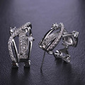 Blucome Cut Clear Simulated Diamond CZ Zircon Earrings Women Rhodium Gold Plated Wedding Ear Accessories Princess Buckle Aretes