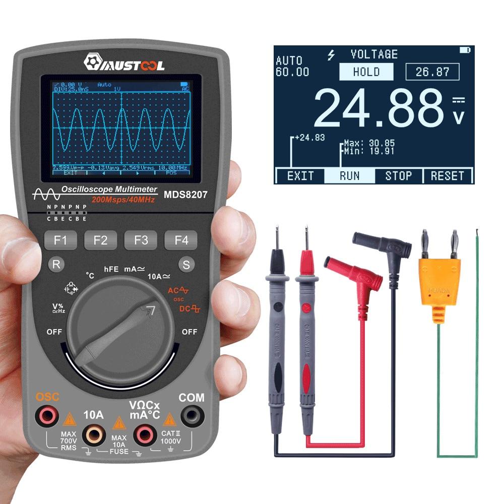 MAIS NOVO MUSTOOL MDS8207 2 em 1 Inteligente De Armazenamento Digital Scopemeter Multímetro 40MHz 200 Msps/S Uma Chave AUTO osciloscópio Tester